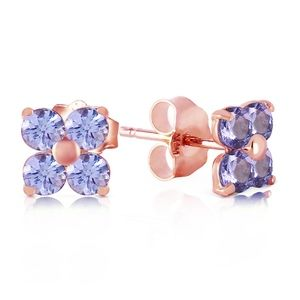SOLID GOLD STUD EARRING WITH NATURAL TANZANITES